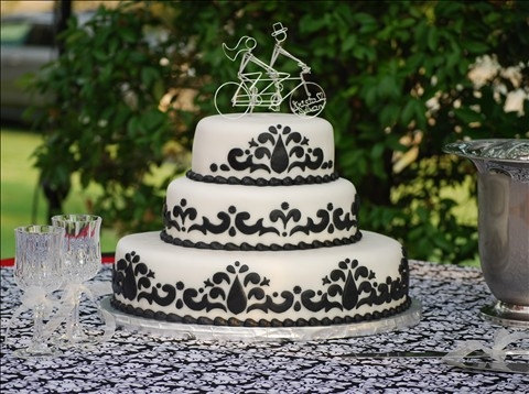 etsy wedding cake black and white design